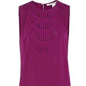 Diane von Furstenberg raspberry Kally Lilly blouse